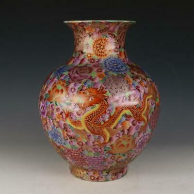 Rare Chinese Enamel Color Gold wire Porcelain big Cover Jar Vase with Mark
