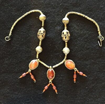 Antique Chinese Sterling Silver Carnelian Gourd Bead Coral Pendant Necklace