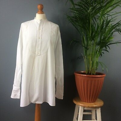 Vtg 50s Kingdum Meakers of Piccadilly White Cotton Collarless Dress Shirt XL 2XL