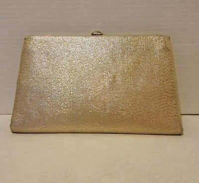"""VINTAGE MID CENTURY L and M """"After Five"""" GOLD CLOTH CLUTCH  Evening Purse 1950s"""