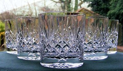 "Lovely Set Of 6 Edinburgh Crystal ""lomond"" 3 1/4"" Whisky Glasses"