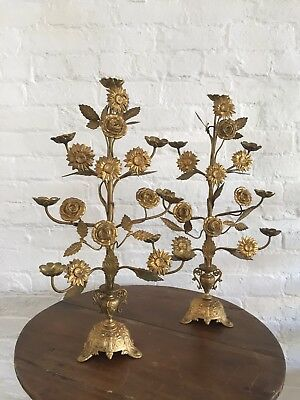 Antique vintage French Alter Flower Candelabra Church Religious Decorative
