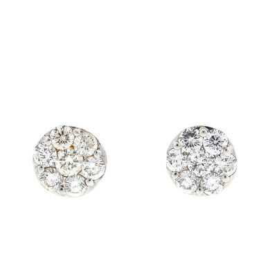 14k White Gold Diamond Cluster Earrings 1.4 Cts