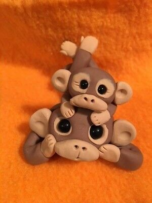 Mommy Monkey with Baby on Her Back Figurine -  New OOAK - Handmade