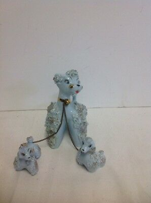 Vintage 1950's Spaghetti Poodle Mom with 2 Pups on Chain Made In Japan