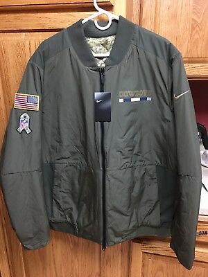 0a21f8a59a3 Nike Dallas Cowboys NFL Salute To Service Sideline Reversible Bomber Jacket  XL