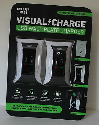 Sharper Image Visual Charge USB Wall Plate Charger 2 Pack. Surge Protector USED