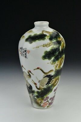 Antique Chinese Hand Painted Birds & Landscape  Vase Six Character Mark on Base