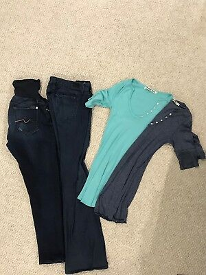 maternity clothes lot - 7 for all mankind and Paige Jeans, Michael Stars Shirts