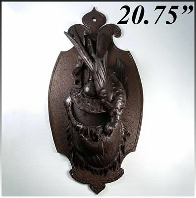"""Antique Black Forest Carved Hunt Theme Wall Plaque, Pheasant, Game Scene, 20.75"""""""