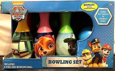 NIB! Nickelodeon Paw Patrol Kids Bowling Set in Display Box
