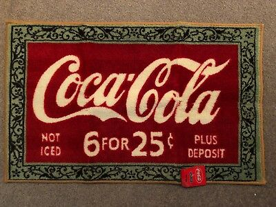 """NEW Coca Cola Coke """"6 For 25 Cents"""" Rug / Mat 22"""" x 36"""", Advertising Collectible"""