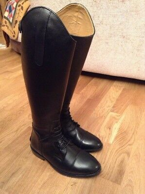 Black HKM Spain Leather Field Boots Size 4 Uk 37 Euro