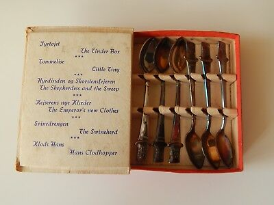 Vintage Boxed Set Of 6X Hans Christian Andersen Prima Solvplet Tea Spoons