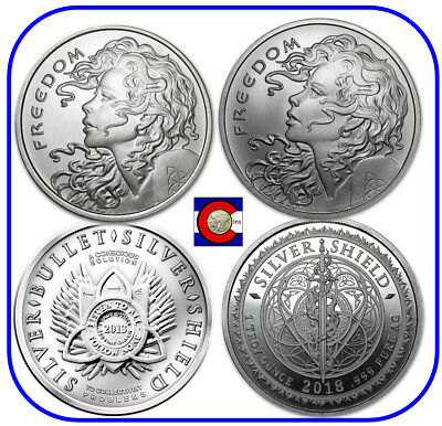 2013 & 2018 Freedom Girl 1 oz. Silver Rounds/Coins in capsules, Silver Shield