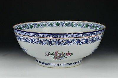 Large Antique Chinese Export Porcelain Punch Bowl 16 Inches 18th Century