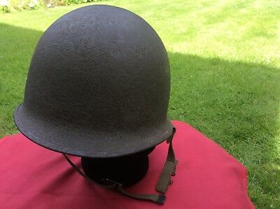 Genuine Original WW2 US M1 Helmet Shell by Schlueter Front Seam and Swivel Bales