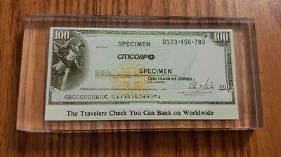 USA Travelers Check $100 Specimen CITICORP in Lucite Paperweight