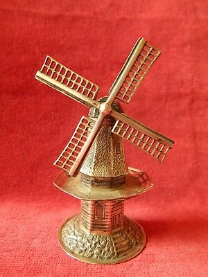 Vintage Hallmarked Dutch Silver Windmill With Moving Blades Old 10cm