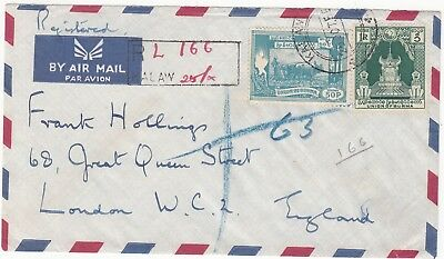Burma: Registered Airmail; H. W. Whiting, The Sentinel, Kalaw-London, 25 Oc 1955
