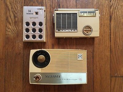 Lot of 3 VTG 14 Transistor Radios 903 Sylvania Philco T88-124 White Cream WORKS