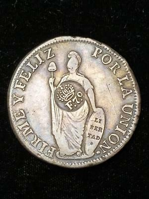 Philippines 1832 to 1834 No Date 8 Reales on Peru 1833 Counterstamp Crowned F 70