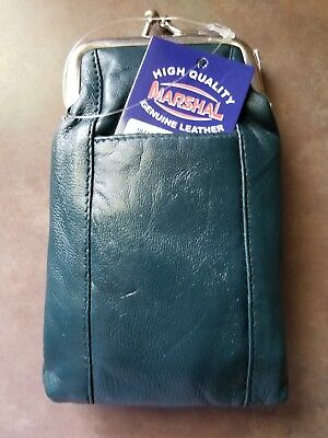 Marshal Leather Green 100's Cigarette Snap Case Coin Purse