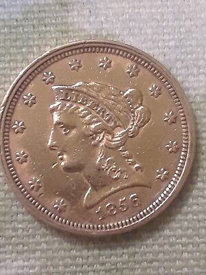 RARE !! 1856 $2.50 Gold Quarter Eagle ONLY 384,240 MINTED