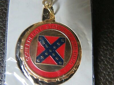 Rebel Battle Flag CSA Seal Gold Collectible Key Chain