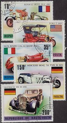 BURKINA FASO CTO Scott # 362-364, C206-C207 Old Automobiles (5 Stamps)