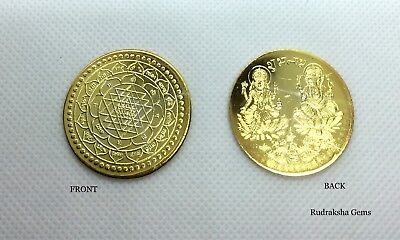 Shree Lakshmi Ganesh Puja Coin Lord Ganesha Goddes Laxmi Luck Charged Sri Yantra