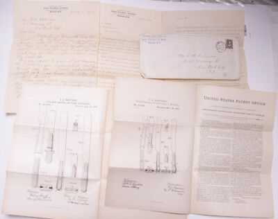 1904 Patent Office Clark Letters Hastings Cutlery 1870's Sketches Ephemera L001D