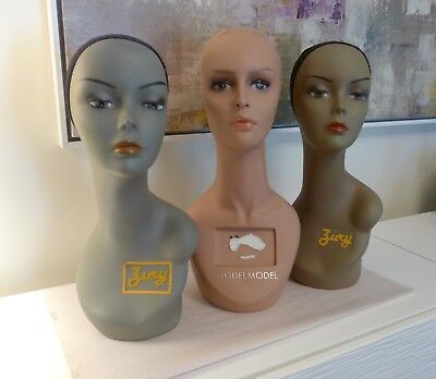 """Lot Of 3 Female Mannequin Head For Wigs By Jury & Model Model Plastic 18"""""""