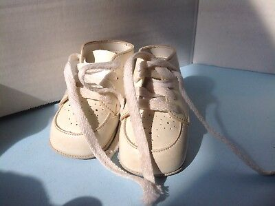 Buster Brown Vintage White Leather Baby Shoes Size 1 Newborn 0-3 Month