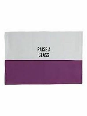 Kate Spade Placemat 19 x 13 Raise A Glass Food For Thought African Violet Cotton