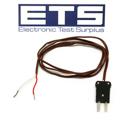 Type J Mini Thermocouple Plug w/ 3' Wire Lead Brown