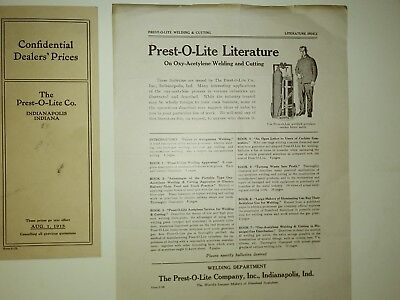 1913 Prest-O-Lite Auto Supplies Pricing, Ad Flier, Legal Settlement, Loan Doc.
