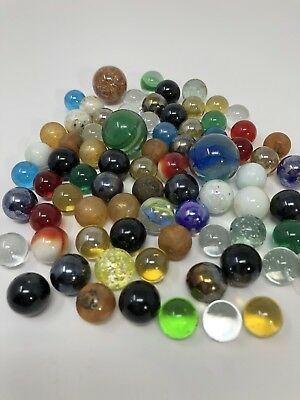 75 Assorted Marbles Antique, Vintage, Hand Made