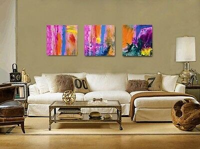 Contemporary WALL Decor, Abstract Triptych Acrylic Painting,modern Art,PINK TRIO