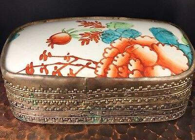VTG FLORAL Chinese Porcelain SHARD BOX Ornate Tooled Metal Copper Silver Wash