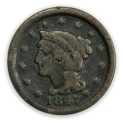1847 Braided Hair Large Cent, Early Type, Circulated Coin [3749.54]