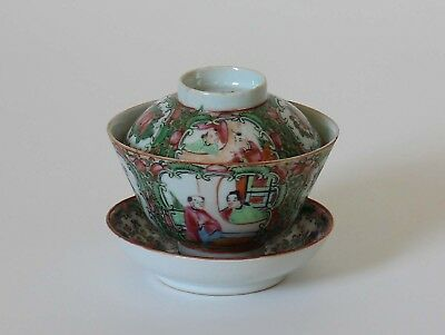 Antique Chinese Export Porcelain BOWL & COVER with Saucer Rose Medallion