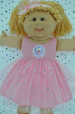 "Play n Wear Doll Clothes For 16"" Cabbage Patch  PINK SEQUIN DRESS~HEADBAND"