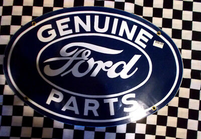 "FORD GENUINE PARTS- Porcelain SIGN - WHITE/NAVY -16"" X 11""- READ MY DISCRIPTION!"