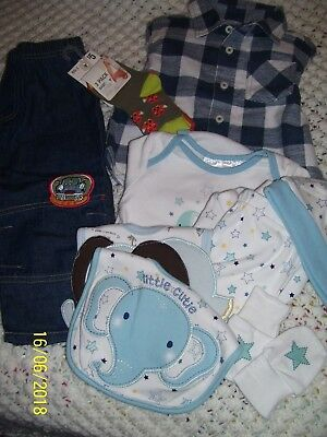 Baby Boy Clothes, Jeans & Shirts. 6-Piece Set. Size 0.  Pack Of 3 Prs Socks.