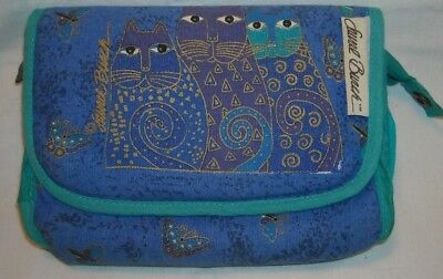 Laurel Burch Blue  Cat & Butterfly Cosmetic Bag With Mirror