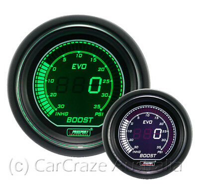 Prosport Evo Electrical Digital Boost Car Auto Gauge 52mm - White / Green EVOWGB