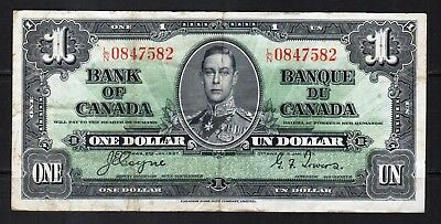 "Canada - 1937 Bank of Canada 1 Dollar Banknote P58e VF++ ""King George VI"""
