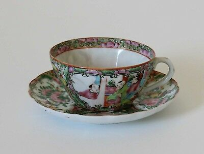 Antique Chinese Export Porcelain PANELED CUP & FLUTED SAUCER Rose Medallion