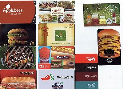 Collectible Gift Card - No $ Value - FOOD Theme - YOU CHOOSE 3 CARDS for $1.59